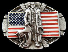 Western Rodeo Ranch Horse Cowboy American USA US Flag Belt Belts Buckle Buckles