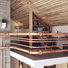 Living Room Design, Industrial Pipe Railings Design: Designing Home With Industrial Style