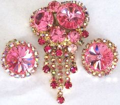 Juliana Dangling Pink Rivoli Rhinestone Pin Earring Set   eBay