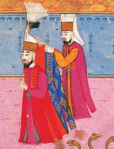 Detail from, i believe, the Sūrnāme-i Hümāyūn, the Imperial Festival Book, documenting the circumcision festival of Prince Mehmet that lasted longer than 50 days. 16th Century Clothing, Turkish Military, Ottoman Turks, Islamic Paintings, Iranian Art, Ottoman Empire, Historical Clothing, Islamic Art, Persian
