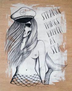 "Skull Mermaid     ""Sirena calavera"" - Daniela Garreton   day of the dead"