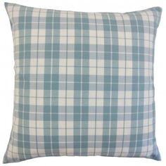 Tailored in chunky plaid pattern, this throw pillow adds a timeless look to your living space. Liven up your bed, sofa or chair by pairing this with different shades or combine with other patterns altogether. The throw pillow features a print in shade of sea blue against a white background. Made from 100% soft cotton fabric. Crafted in the USA. $55.00 #throwpillow #pillows #homedecor #plaid #blue