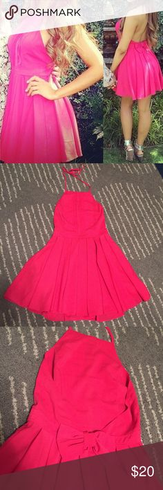 Pink open back dress size small Not LF, purchased from a boutique. Size small. No tags inside. Worn and washed once. Perfect condition. Halter tie on top, bow detail on back. **NO TRADES** LF Dresses Mini