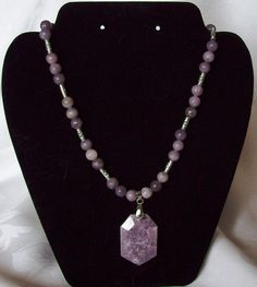 Lavender Lepidolite Pendant Beaded Necklace by ksulz on Etsy