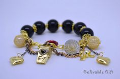 Titanic charm bracelet, golden whistle bracelet with love heart,kiss lip,bowtie and crystal charms