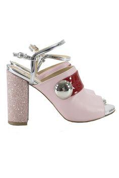 b3850126f9 Sandalo donna in pelle rosa,con fascia in vernice rossa,bottone argento, tacco