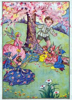 Gorgeous Fairies Discovered By Boy!  Vintage Fairy Illustration. Fairy Digital Download. Vintage Digital PRINT. Perfect For Card Making!