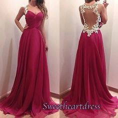 Cute backless rose chiffon prom dress with lace straps, homecoming dress,prom dresses long #coniefox