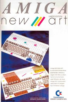 """Amiga 500 ad, Stefanie Tücking (host of germany's music TV show """"Formel… School Computers, Old Computers, Home Computer, Gaming Computer, Vintage Advertisements, Vintage Ads, Amiga Forever, Light Grid, Gaming Pc Build"""