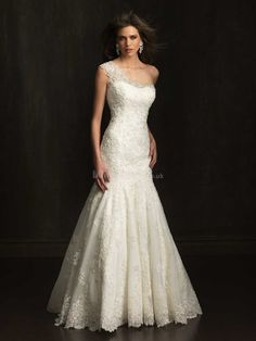 Dramatic Sheath/ Column One Shoulder Lace Natural Waist With Beading Wedding Dresses #laceweddingdress