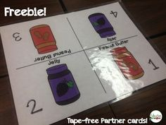 Education to the Core: FREEBIE Peanut Butter/Jelly Table Card.  Forget adhesives and having to remove and replace! Just place the card in the middle of the desk!