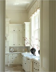 kitchen window valance dillarddesign - simple box pleat with trim, but I would do with a pop of color to draw in the eye in my galley kitchen.