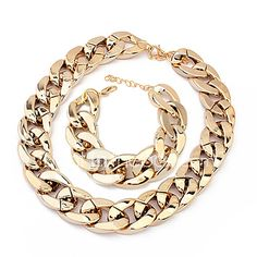 European Chain Bracelet & Necklace Plastic Jewelry Set - Get Free delivery on all UK orders at Light in the Box - UK Women's Jewelry Sets, Cheap Jewelry, Women Jewelry, Bracelet Set, Necklace Set, Bangle Bracelets, Gold Necklace, Rhinestone Earrings, Crystal Rhinestone