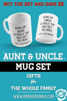 Mug Sets | Being My Aunt and Uncle Is Really The Only Gift You Need Mug Set – Love Your Favorite Niece or Nephew. Save $$$ Buy the Set! This is a listing for two mugs. They are packaged and shipped separately allowing you to have two gifts or gift them together! Design printed on both the front and back sides of the mug. 100% Dishwasher and Microwave safe. Collect this awesome mug set. #MugSet #MugSetForCouple #CoupleMugs #MugForAunt #MugForUncle #Mugs #impropermug