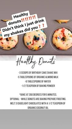 Use the Isagenix birthday cake shake mix to make these healthy donuts. Best Nutrition Food, Best Diet Foods, Nutrition Club, Health And Nutrition, Child Nutrition, Isagenix Shakes, Herbalife Shake Recipes, Protein Shake Recipes, Healthy Recipes