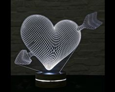 heart shaped 3D LED lamp