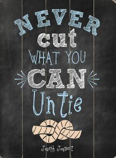 'Never Cut What You Can Untie' Wood Wall Art
