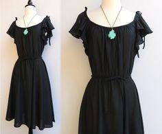 Vintage 70s Black Flutter Sleeve Dress with Ties on Shoulders