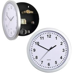 Silver Tone Quartz Clock with 3 Shelf Hinged Hidden Safe