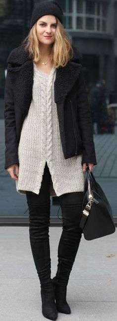 Shearling jacket and Maxi sweater | CzechChicks #shearling