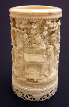 CHINESE BRUSH POTS | Chinese Ivory Brush Pot, 19th Century - Chinese and Japanese - Auction ...