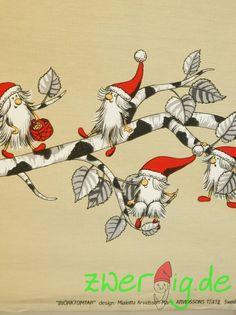 Weihnachtsstoffe - Baumwolle natur mit Wichtel-Bordüre - Arvidssons - ein Designerstück von zwergigDE bei DaWanda
