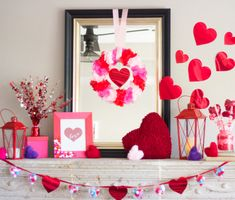 Decorating a mantel for Valentine's Day