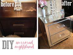 DIY mirrored nightstand, repurpose your old ones! Diy Mirrored Furniture, Mirrored Nightstand, Diy Nightstand, Dresser With Mirror, Repurposed Furniture, Furniture Makeover, Furniture Projects, Home Projects, Diy Furniture