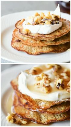 This healthy banana pancakes recipe is like having dessert for breakfast. Banana pancakes are easy enough to make on a weekday morning and delicious enough to serve for brunch. The recipe is gluten free, keto, dairy free, sugar free and high in protein. Healthy Banana Recipes, Pancake Healthy, Banana Dessert Recipes, Pancake Recipes, Waffle Recipes, Recipes For Bananas, Healthy Banana Pancakes, Banana Recipes Videos, Breakfast Recipes