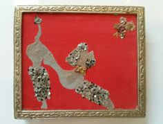 VTG Figural Powder Compact with glittered Poodle dog & Butterfly on Red Silk Lid