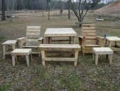 Then we decided how to utilize these pallets into simple DIY pallet lawn furniture project. So we decided to make pallet lawn furniture set that includes pallet lawn chair, pallet lawn sofa and pallet lawn table Pallet Lawn Furniture, Pallet Furniture Designs, Outdoor Furniture Plans, Furniture Projects, Furniture Logo, Furniture Refinishing, Kids Furniture, Pallet Chair, Pallet Designs