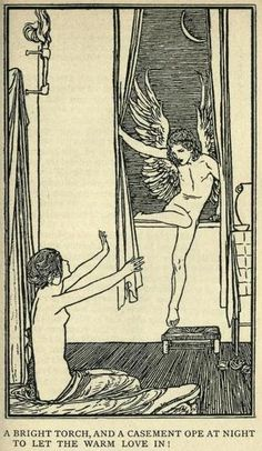 """Poems by John Keats, Illustrations by Robert Anning Bell (1898) """"let the warm love in !"""""""