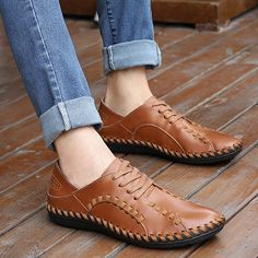 >> Click to Buy << Spring Handmade Sewing Genuine Leather Casual Flats Summer Fashion Personality Round Toe Breathable Cow Leather Men Loafers #Affiliate