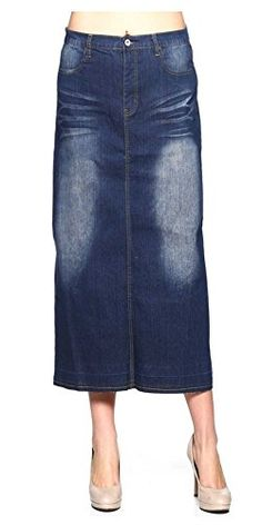 133f899646f Tabeez Womens Stretch Denim Long Skirt Small Blue -- Read more reviews of  the product