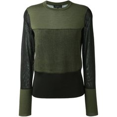 Rag & Bone 'Marissa' crew neck jumper ($310) ❤ liked on Polyvore featuring tops, sweaters, green, crew-neck jumper, green jumper, crew top, crew neck sweaters and jumper top