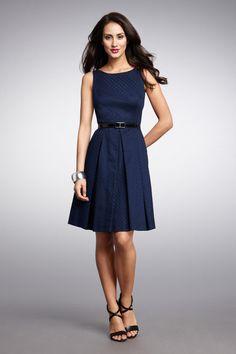 Belted navy dress so cute via Stelmach 000aef550e368