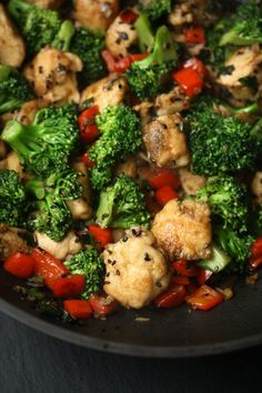 Healthy Easy Sesame Chicken Recipe - packed with broccoli and peppers