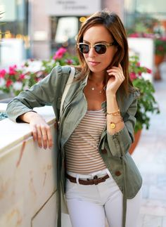Sydne Style stripes military jacket army chic trend Gorjana star necklace Toms plastic sunglasses champagne color