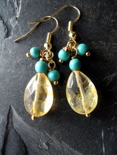 On Sale Gold Citrine Earrings, November Birthstone , Citrine Jewelry , Citrine Drop Earrings