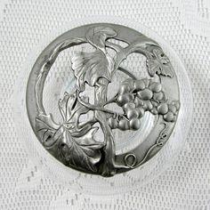 Seagull Pewter Trinket Dish, Potpourri Bowl with Pewter Lid, Grape Design, Vintage