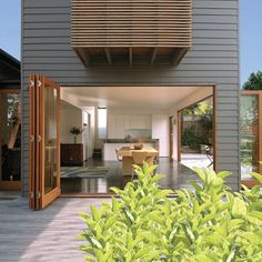 Definitely want massive bifold doors in my home Exterior Paint Colors, Exterior Design, Interior And Exterior, Paint Colours, Grey Exterior, External Cladding, Timber Cladding, Weatherboard Exterior, Australian Homes