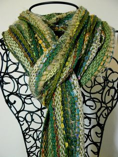 Handwoven Scarf SAORI Green Scarf by DebbieBHandspun on Etsy, $95.00