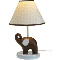 "Carter's Blue Elephant Lamp Base And Shade, Blue/Choc, 5.5 X 12"""