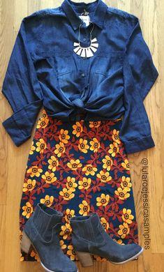 LuLaRoe Cassie skirts and denim are always a good idea!