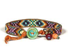 Small Bead Loom Bracelet Leather Wrap Bracelet Casbah Boho Bracelet Bohemian Jewelry Aerieanna's Wristcraft
