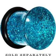 00 Gauge Blue Acrylic Ultra Glitter Plug | Body Candy Body Jewelry