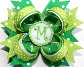 "10% off by liking Lebelle Boutique on Facebook...4"" Personalized Happy St. Patrick's Day Emerald Lime Green & Polka Dots Stacked Hair Bow"