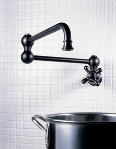 jaclo traditional swing arm pot filler with cross handle in black - the ultimate guide to luxury plumbing by the delight of design Bath Fixtures, Kitchen Fixtures, Plumbing Fixtures, Kitchen Faucets, Make You Feel, How Are You Feeling, Brass Tap, Metal Tub, Pot Filler