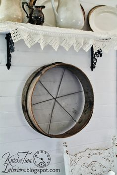 An antique wooden screen sifter - such a beauty! via KnickofTimeInteriors.blogspot.com