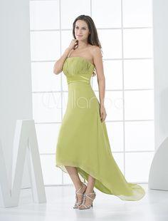 [$73.99] Strapless Daffodil Chiffon High-Low Bridesmaid Dress